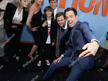 """Beverly D'Angelo, Christina Applegate, Steele Stebbins, Skyler Gisondo, Chris Hemsworth and Ed Helms seen at the New Line Cinema presents the Premiere of """"Vacation"""" held at Regency Village Theatre, in Westwood, Calif"""