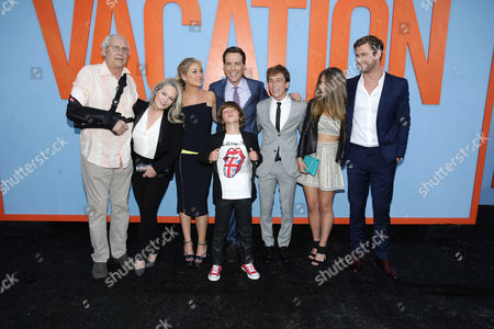 """Chevy Chase, Beverly D'Angelo, Christina Applegate, Steele Stebbins, Ed Helms Skyler Gisondo, Catherine Missal and Chris Hemsworth seen at the New Line Cinema presents the Premiere of """"Vacation"""" held at Regency Village Theatre, in Westwood, Calif"""