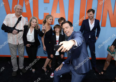 """Chevy Chase, Beverly D'Angelo, Christina Applegate, Steele Stebbins, Ed Helms Skyler Gisondo and Chris Hemsworth seen at the New Line Cinema presents the Premiere of """"Vacation"""" held at Regency Village Theatre, in Westwood, Calif"""