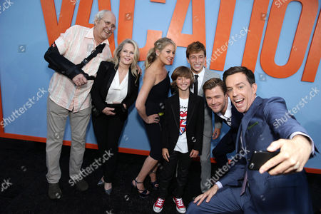 Chevy Chase, Beverly D'Angelo, Christina Applegate, Steele Stebbins, Skyler Gisondo, Chris Hemsworth and Ed Helms seen at the New Line Cinema presents the Premiere of 'Vacation' held at Regency Village Theatre, in Westwood, Calif