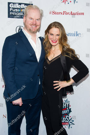 "Stock Photo of Jim Gaffigan and Jeannie Noth attend Comedy Central's ""Night of Too Many Stars: America Comes Together for Autism Programs"" at the Beacon Theatre on in New York"