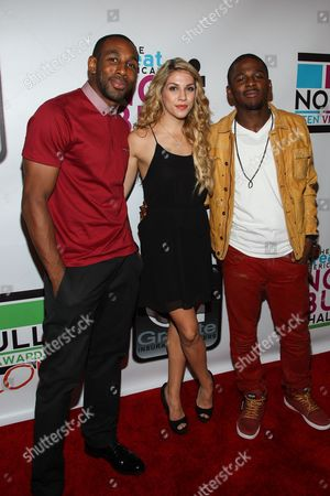 """From left, Dancer Stephen """"tWitch"""" Boss, dancer Allison Holker, and singer-songwriter Marcus Canty arrive at the No Bull Teen Video Awards at the Westin LAX Hotel on in Los Angeles"""