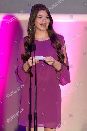 Actress Jadin Gould presents the award for Best Community Involvement during the No Bull Teen Video Awards at the Westin LAX Hotel on in Los Angeles