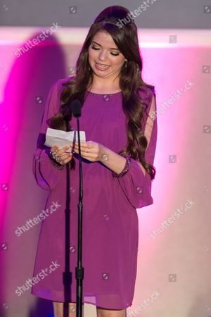 Stock Image of Actress Jadin Gould presents the award for Best Community Involvement during the No Bull Teen Video Awards at the Westin LAX Hotel on in Los Angeles