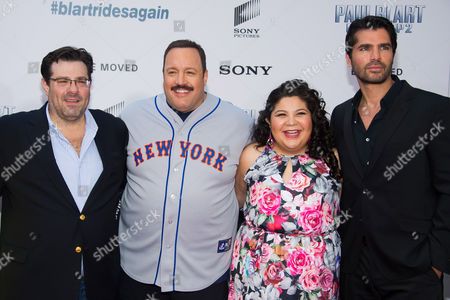 """Andy Fickman, from left, Kevin James, Raini Rodriguez and Eduardo Verastegui attend the premiere of """"Paul Blart: Mall Cop 2"""" at AMC Loews Lincoln Square, in New York"""