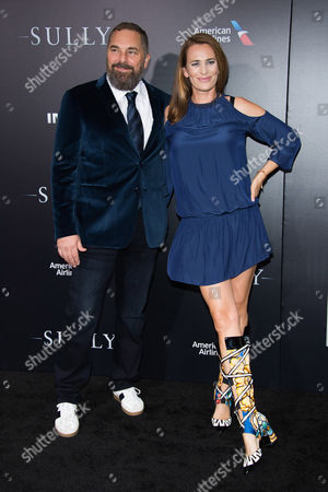 """Todd Komarnicki and Jane Bradbury attend the premiere of """"Sully"""" at Alice Tully Hall, in New York"""
