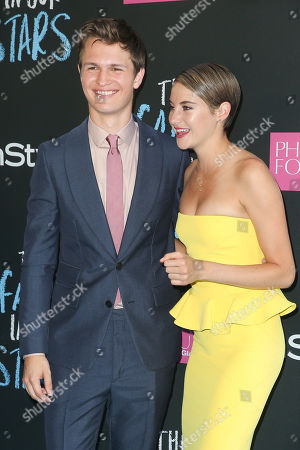 """Actors Ansel Elgort and Shailiene Woodley attend the premiere of 20th Century Fox's """"The Fault In Our Stars"""" at the Ziegfeld Theatre, in New York"""