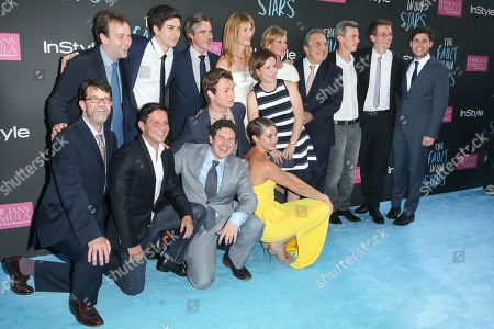 """From left back row, Actor Mike Birbiglia, Nat Wolff, Sam Trammell, Ansel Elgort, Laura Dern, Erin Siminoff, senior vice president of production at Fox Broadcasting, Elizabeth Gabler, president of Fox 2000, Jim Gianopulos, chairman & CEO of Fox Filmed Entertainment, director Josh Boone, John Green, author of A Fault in Our Stars,"""" screenwriter Michael Weber, and from left front row, producers Wyck Godfrey, Scott Neudtadter, Isaac Klausner, and actress Shailiene Woodley attend the premiere of 20th Century Fox's """"The Fault In Our Stars"""" at the Ziegfeld Theatre, in New York"""