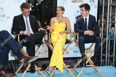"""John Green, author of A Fault in Our Stars, left, actors Shailiene Woodley and Nat Wolff are interviewed at the premiere of 20th Century Fox's """"The Fault In Our Stars"""" at the Ziegfeld Theatre, in New York"""