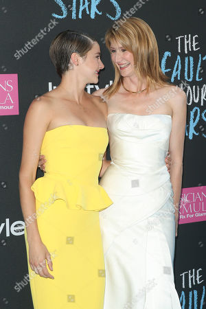 """Stock Photo of Actresses Laura Dern, right, and Shailiene Woodley attend the premiere of 20th Century Fox's """"The Fault In Our Stars"""" at the Ziegfeld Theatre, in New York"""