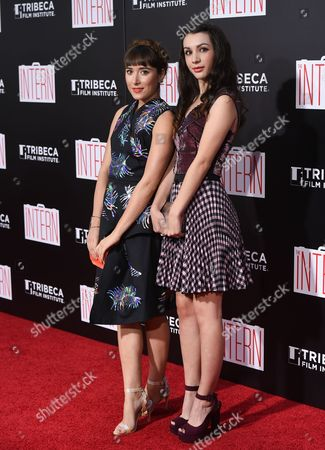 "Actresses Christina Scherer, left, and Hannah Marks attend the premiere of ""The Intern"" at the Ziegfeld Theatre, in New York"