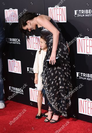 "Actress Anne Hathaway greets JoJo Kushner at the premiere of ""The Intern"" at the Ziegfeld Theatre, in New York"
