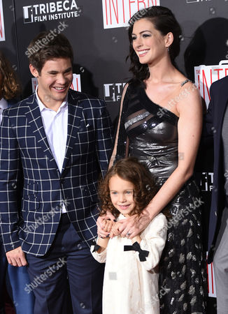 "Adam DeVine, from left, JoJo Kushner and Anne Hathaway attend the premiere of ""The Intern"" at the Ziegfeld Theatre, in New York"