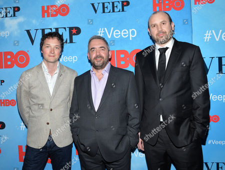 """Chris Addison, from left, Simon Blackwell and Tony Roche attend the premiere of HBO's """"Veep"""" season four at the SVA Theater, in New York"""