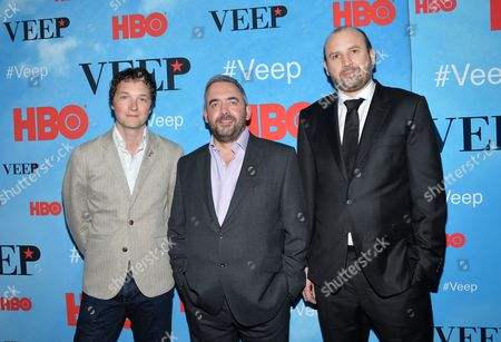 """Executive producers Chris Addison, left, Simon Blackwell and Tony Roche attend the premiere of HBO's """"Veep"""" season four at the SVA Theater, in New York"""