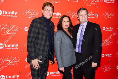 """Oliver Goldstick, from left, I. Marlene King and Joseph Daugherty attend the """"Pretty Little Liars"""" season finale screening on in New York"""