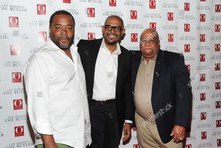 """Director Lee Daniels, left, actor Forest Whitaker and Charles Allen, right, the son of the subject of the film Eugene Allen, attend a special screening of """"Lee Daniels' The Butler"""" hosted by O, The Oprah Magazine at Hearst Tower on in New York"""