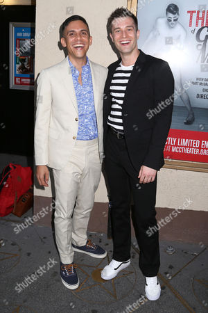 """Playwright Matthew Lopez, left, and choreographer Paul McGill arrive at the Broadway opening night of the MCC Theater's """"The Legend of Georgia McBride"""" at The Lucille Lortel Theatre, in New York"""