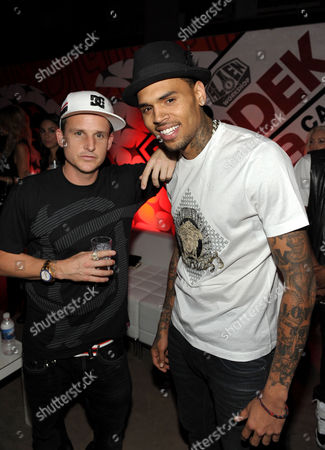 "Rob Dyrdek, left, and Chris Brown pose for a photo at PacSun and DC Shoes ""Golden State of Mind"" event held at Fantasy Factory on in Los Angeles"