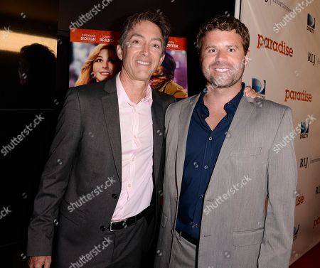 """RLJ Entertainment Chief Acquisitions Officer Bill Bromiley, left, and RLJ Entertainment VP of Acquisitions Mark Ward arrive on the red carpet at a special screening of the feature film """"Paradise"""" at the Chinese 6 Theater on in Los Angeles"""