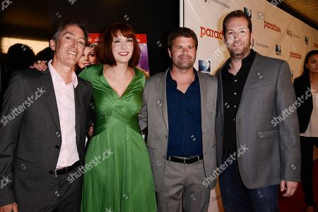 """From left to right, RLJ Entertainment Chief Acquisitions Officer Bill Bromiley, writer and director Diablo Cody, RLJ Entertainment VP of Acquisitions Mark Ward, and producer Mason Novick arrive on the red carpet at a special screening of the feature film """"Paradise"""" at the Chinese 6 Theater on in Los Angeles"""