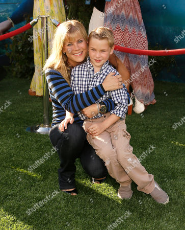 """Alison Sweeney with son Benjamin Sanov at the """"Brave"""" premiere at the Dolby Theatre on in Los Angeles"""
