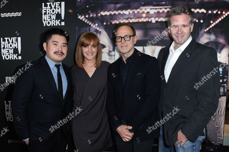 "Director Bao Nguyen, from left, producers JL Pomeroy, Tom Broecker and Owen Moogan arrive at theLos Angeles Premiere Of ""Live from New York!"" held at The Landmark Theatre, in Los Angeles"