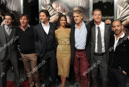 """Castmembers from left to right - Ben Barnes, Dennis Quaid, Bradley Cooper, Zoe Saldana, Jeremy Irons, co-directors Brian Klugman, and Lee Sterntha attend the premiere of """"The Words"""" at ArcLight Cinemas, in Los Angeles"""