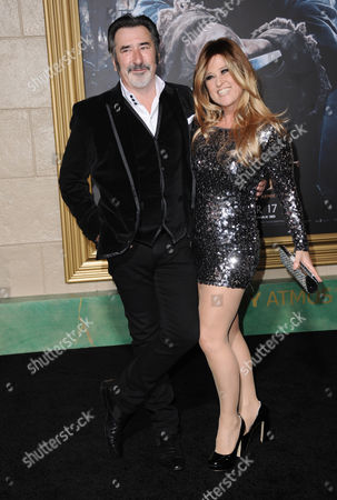 William Kircher, left, and Nicole Chesterman Kircher arrive at the Los Angeles premiere of The Hobbit: The Battle Of The Five Armies at the Dolby Theatre on