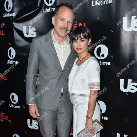 Russ Lamoureux, left, and Constance Zimmer arrive at Lifetime's scripted series premiere of UnREAL at SIXTY Beverly Hills, in Beverly Hills, Calif