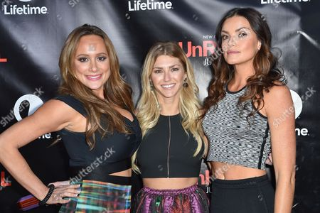 Erica Rose, left, AshLee Frazier and Courtney Robertson arrive at Lifetime's scripted series premiere of UnREAL at SIXTY Beverly Hills, in Beverly Hills, Calif