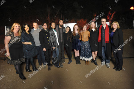 "From left, executive producer Bridget Carpenter, Sarah Barnett, creator/writer/co-executive producer Aaron Guzikowski, Kiowa Gordon, Tamara Tunie, Jason Momoa, Lisa Bonet, Annalise Basso, Allie Gonino, Julianne Nicholson, James Gray and executive producer Sarah Condon arrive at the premiere screening of SundanceTV's ""The Red Road"", on in Los Angeles"