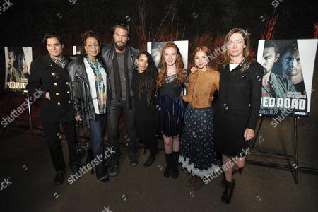 "From left, Kiowa Gordon, Tamara Tunie, Jason Momoa, Lisa Bonet, Annalise Basso, Allie Gonino and Julianne Nicholson arrive at the premiere screening of SundanceTV's ""The Red Road"", on in Los Angeles"