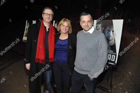 "From left, James Gray, executive producer Sarah Condon and creator/writer/co-executive producer Aaron Guzikowski arrive at the premiere screening of SundanceTV's ""The Red Road"", on in Los Angeles"