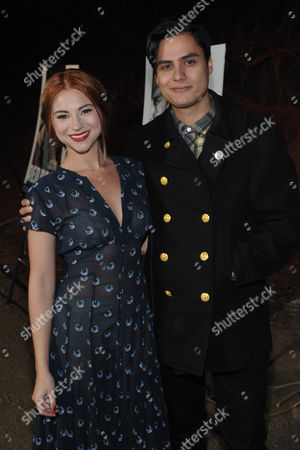 """Allie Gonino, left, and Kiowa Gordon arrive at the premiere screening of SundanceTV's """"The Red Road"""", on in Los Angeles"""