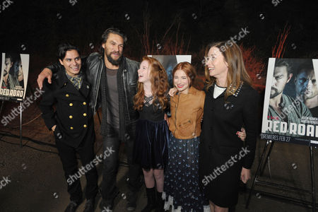 """From left, Kiowa Gordon, Jason Momoa, Annalise Basso, Allie Gonino and Julianne Nicholson arrive at the premiere screening of SundanceTV's """"The Red Road"""", on in Los Angeles"""