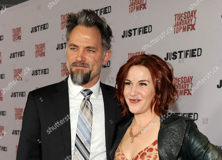 """From left, David Meunier and Faline England are seen at the Red Carpet Premiere Screening of FX's """"Justified,"""" on at the Directors Guild of America in Los Angeles, Calif"""