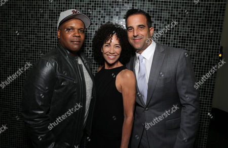 """Producer Reggie Rock Bythewood, Producer Stephanie Allain and Happy Walters attend the premiere for Relativity Studios' and BET Studios' """"Beyond the Lights"""" held at the Arclight Hollywood theater, in Los Angeles"""