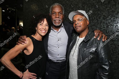 """Producer Stephanie Allain, Danny Glover and Producer Reggie Rock Bythewood attend the premiere for Relativity Studios' and BET Studios' """"Beyond the Lights"""" held at the Arclight Hollywood theater, in Los Angeles"""