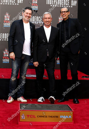 "Harald Kloser, Roland Emmerich, and Jeff Goldblum are seen at Roland Emmerich Hand & Footprint Ceremony and Red Carpet screening of Twentieth Century Fox ""Independence Day Resurgence"" at TCL Chinese Theatre, in Los Angeles"