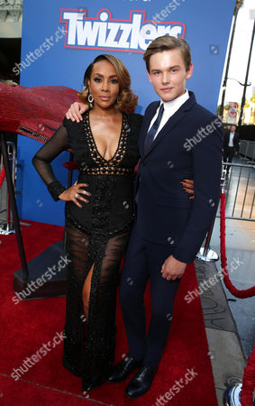 "Vivica A. Fox and Garrett Wareing are seen at Roland Emmerich Hand & Footprint Ceremony and Red Carpet screening of Twentieth Century Fox ""Independence Day Resurgence"" at TCL Chinese Theatre, in Los Angeles"