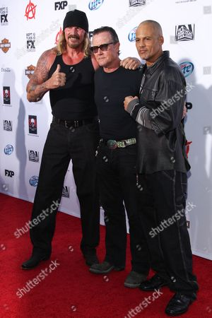"""From left, Rusty Coones, actor Robert Patrick and actor David Labrava arrive at the season 6 premiere screening of """"Sons of Anarchy"""" at the Dolby Theatre on in Los Angeles"""