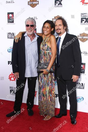 "From left, actor Ron Perlman, daughter Blake Perlman, and actor Kim Coates arrive at the season 6 premiere screening of ""Sons of Anarchy"" at the Dolby Theatre on in Los Angeles"