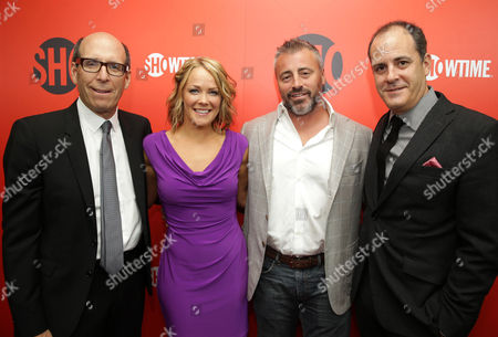 Stock Picture of CEO and Chairman at Showtime Networks, Matthew C. Blank, Andrea Anders, Matt LeBlanc and President of Entertainment at Showtime Networks, David Nevins seen at Showtime's 2013 'Emmy Eve Soirre' on Saturday, Sept, 21, 2013 in Los Angeles