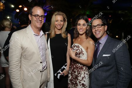 Stock Image of David Nevins, President of Entertainment, Showtime Networks, Lisa Kudrow, Lizzy Caplin and Dan Bucatinsky seen at Showtime's Annual Summer Soiree at 2014 TCA at the Pacific Design Center, in Los Angeles