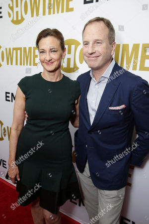 Joan Cusack and Richard Burke seen at Showtime's Emmy Eve 2015 at Sunset Tower Hotel, in Los Angeles, CA