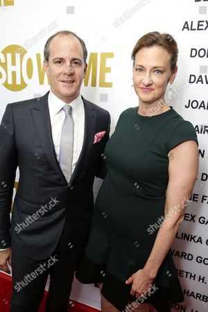 David Nevins, President, Showtime Networks and Joan Cusack at Showtime's Emmy Eve 2015 at Sunset Tower Hotel, in Los Angeles, CA