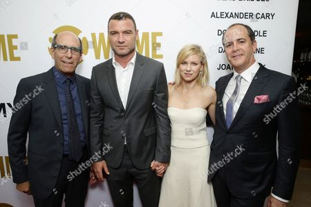 Matthew C. Blank, Chairman and CEO, Showtime Networks, Liev Schreiber, Naomi Watts, and David Nevins, President, Showtime Networks at Showtime's Emmy Eve 2015 at Sunset Tower Hotel, in Los Angeles, CA