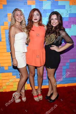 From left, actresses Lia Marie Johnson, Jennessa Rose, and Julianna Rose attends the Staples for Students Give-Back at the Saddle Ranch Chop House on in Universal City, Calif