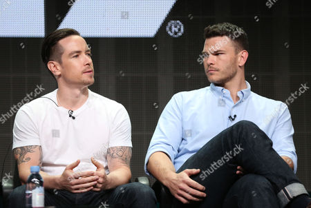 "Sascha Radetsky, left, and Josh Helman, from ""Flesh and Bone"", are seen during the STARZ 2015 Summer TCA panel in Beverly Hills, Calif. on"